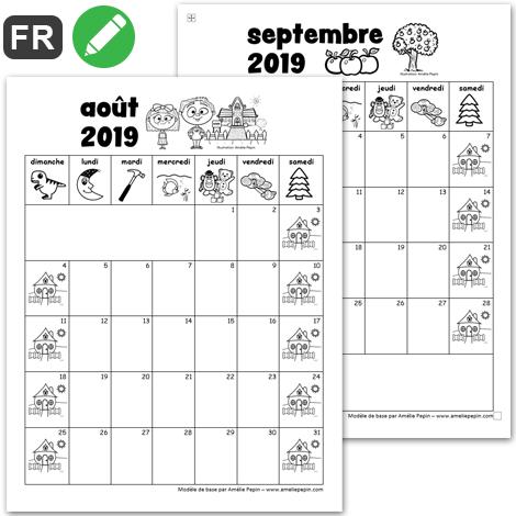 Calendrier Septembre 2020 Aout 2019.2019 2020 Calendrier Prescolaire 2 Versions Calendrier