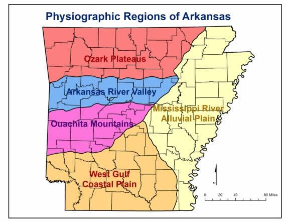 Work Sheets Maps Of Arkansas Five Physiographic Regions Of - Arkansas on a us map