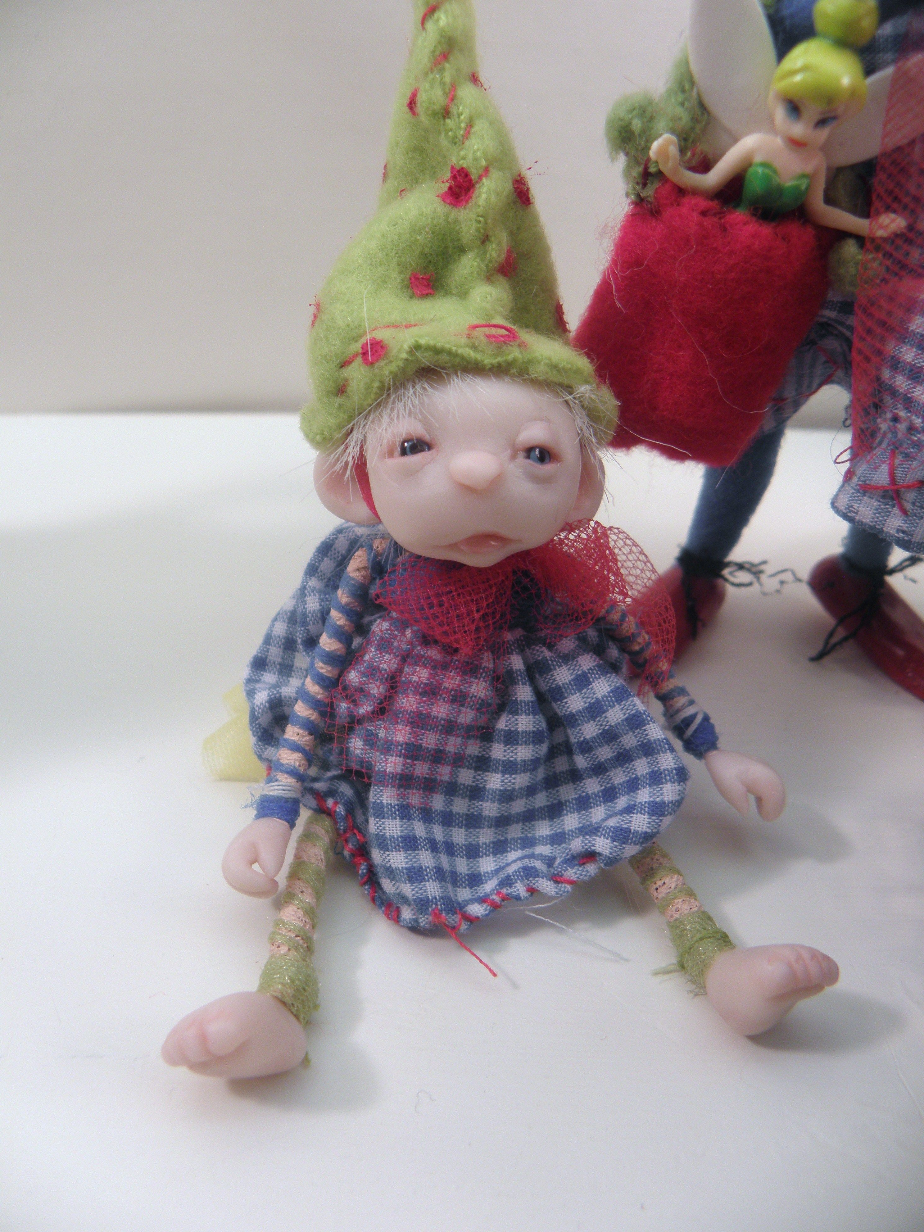 Baby Gnome: POUTING BABY GNOME ... Ooak Poseable Art Doll .. Faires