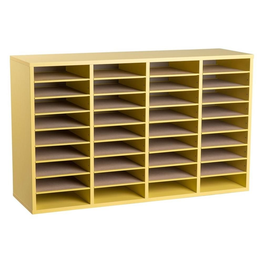 Adiroffice Wood Adjustable 36 Compartment Literature Organizer Yellow 500 36 Yel The Home Depot Literature Organizer Modular Furniture Cabinets Organization