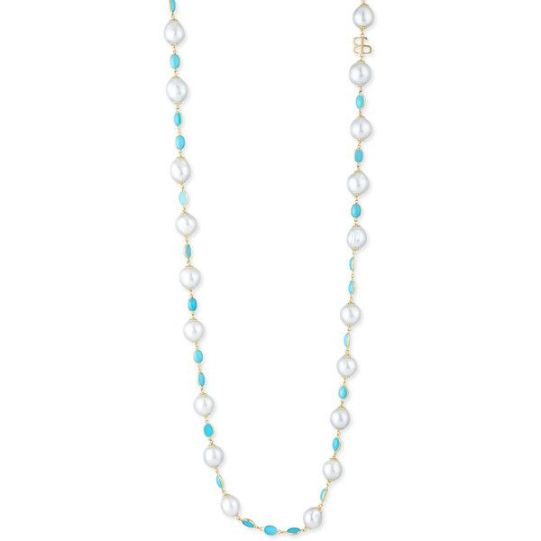 Belpearl Pearl & Turquoise Necklace ($5,515) ❤ liked on Polyvore featuring jewelry, necklaces, turquoise pearl jewelry, turquoise jewellery, pearl jewelry, white pearl necklace and 18 karat gold necklace