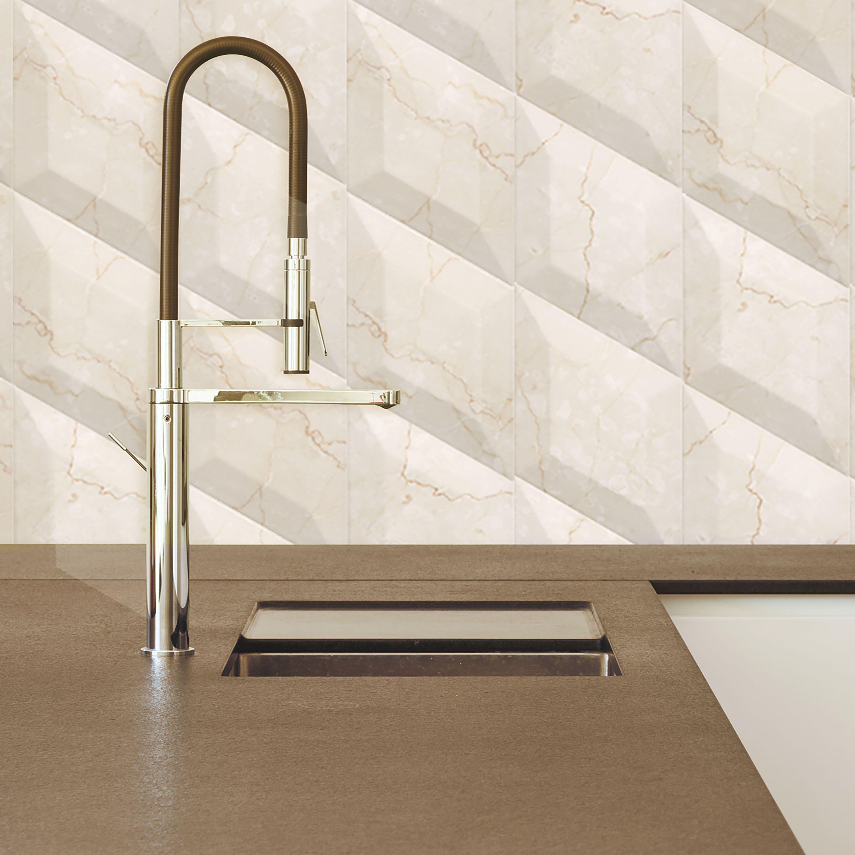 SomerTile 6.75x11.75-inch Aratiba Bevel Beige Ceramic Wall Tile ...