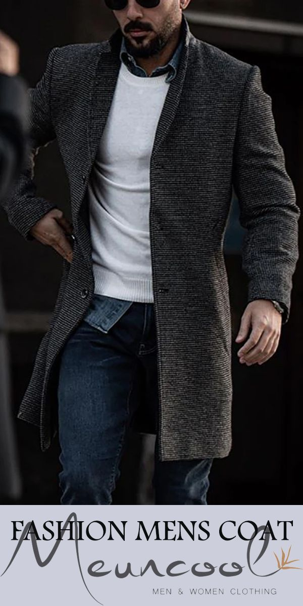 ebossy Mens Wool Blend Full Length Overcoat Single Breasted Long Coat with Flap Pocket