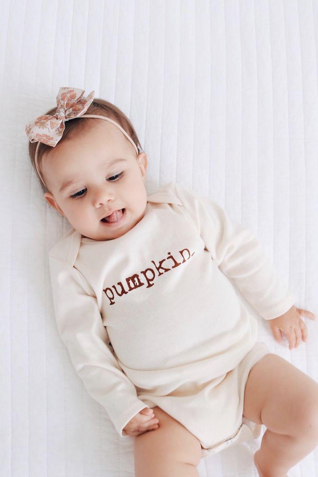 Pumpkin Organic Bodysuit Long Sleeve Baby Girl Onesies Baby Clothes Onesies Gender Neutral Baby Clothes