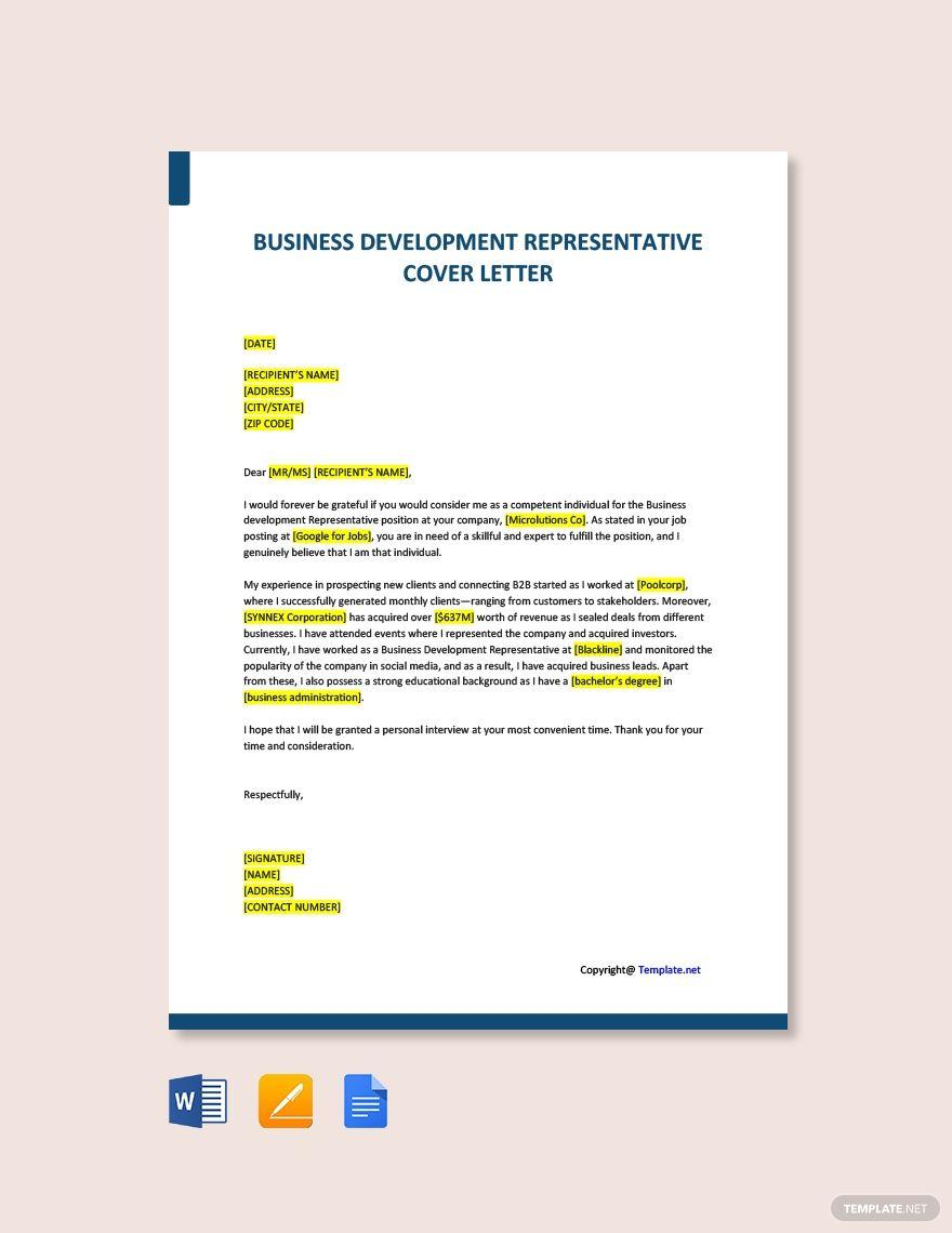 Free Business Development Representative Cover Letter