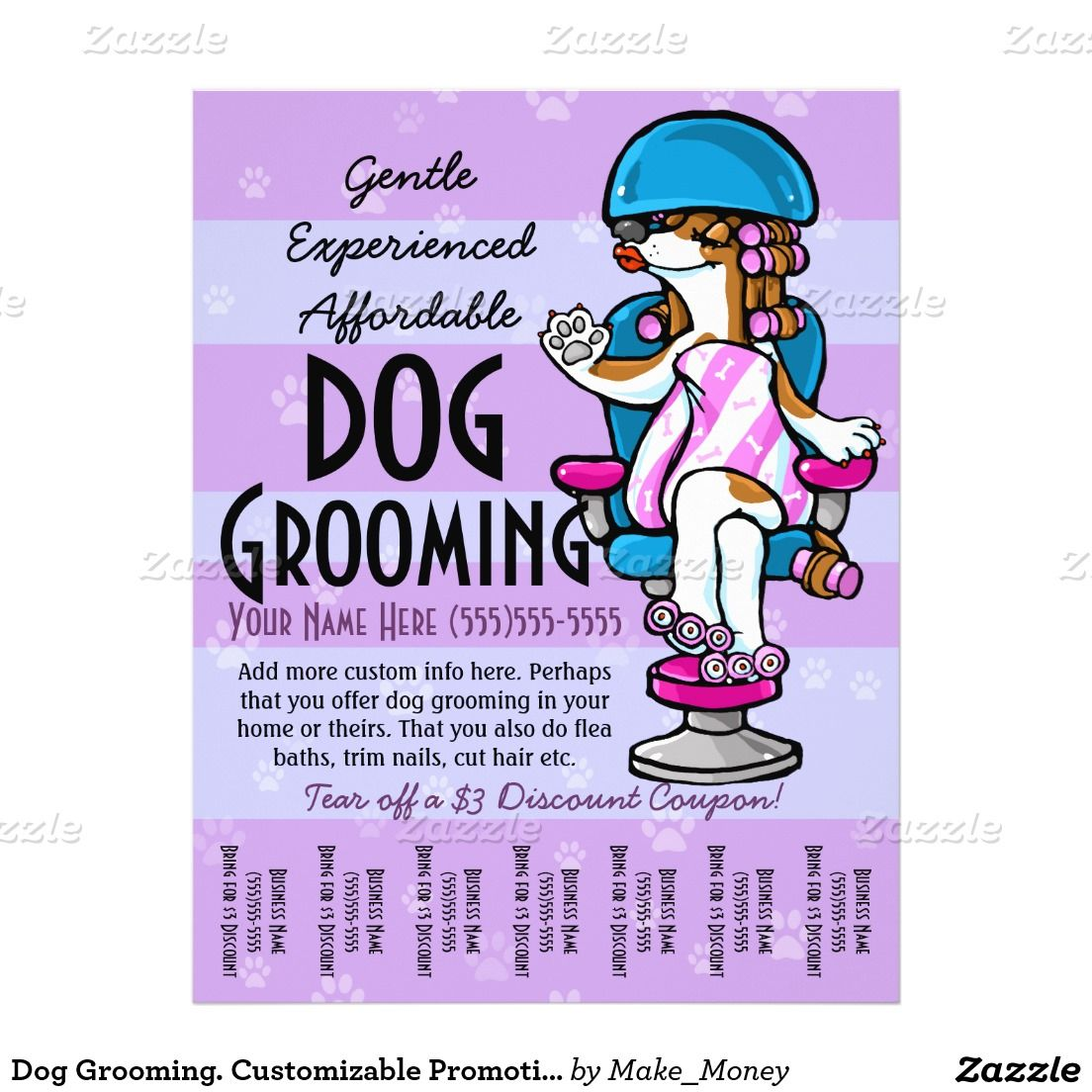 Dog Grooming Customizable Promotional Tear Sheet Zazzle