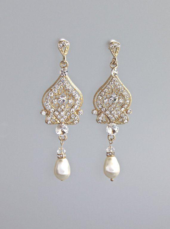 Gold Crystal Bridal Earrings Art Deco Pearl Drop Earrings Gold