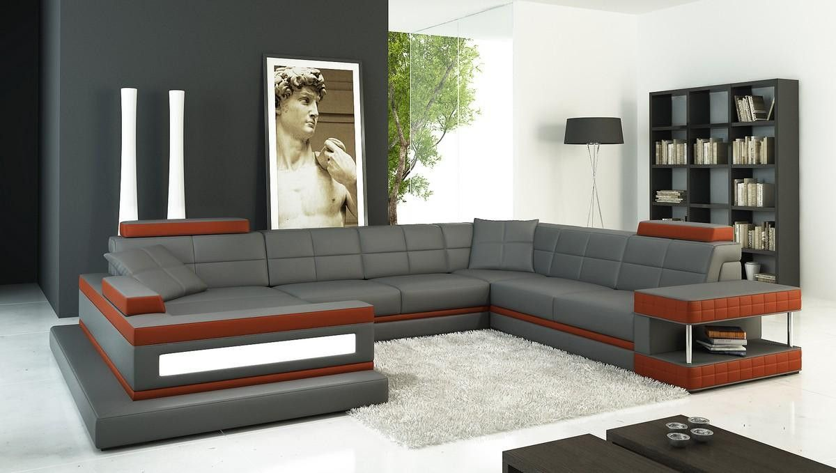 Divani Casa 5079 Grey and Dark Red Bonded Leather Sectional Sofa ...