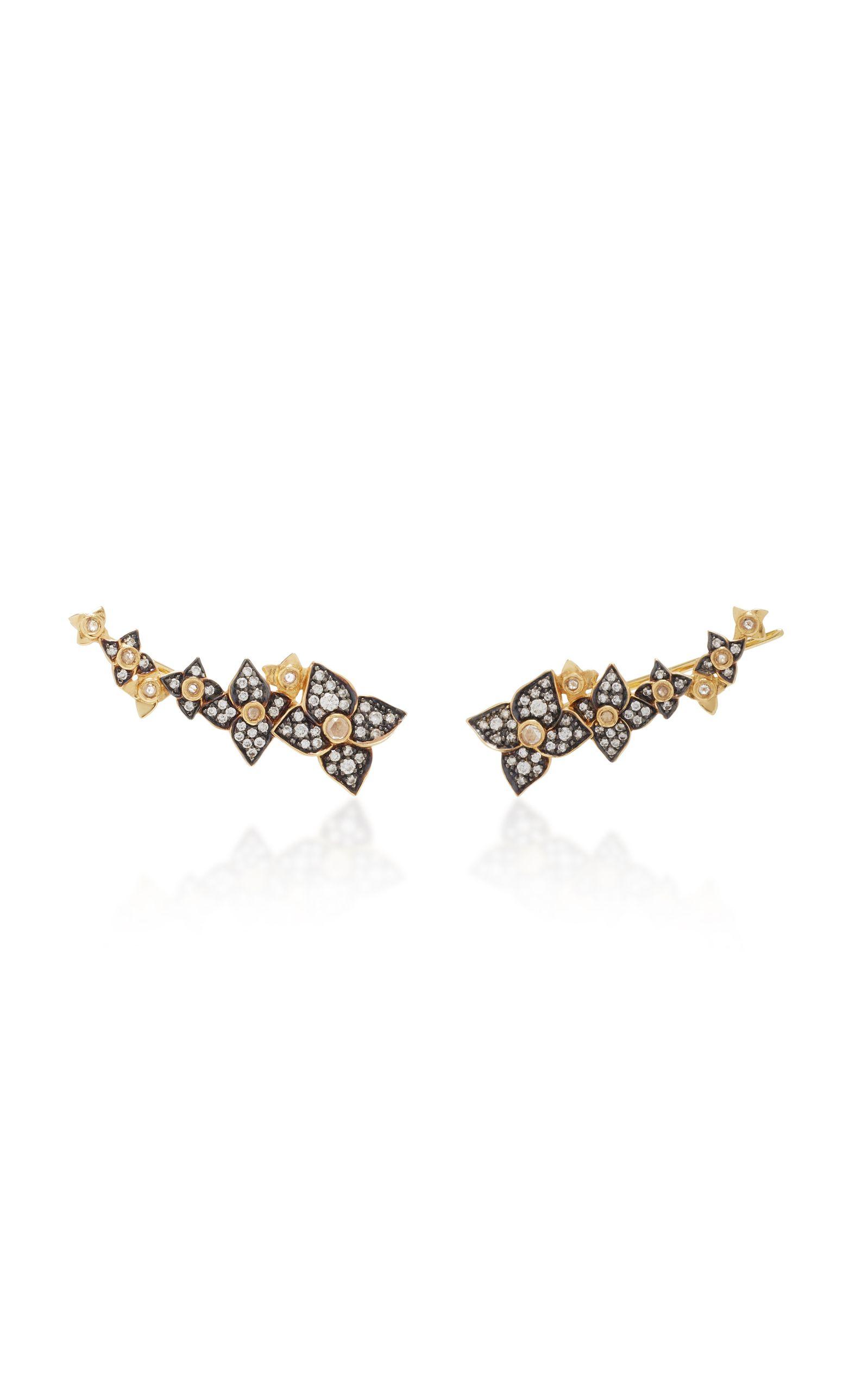18K Gold Diamond Flower Wing Stud Earrings Sorellina t3LRlL