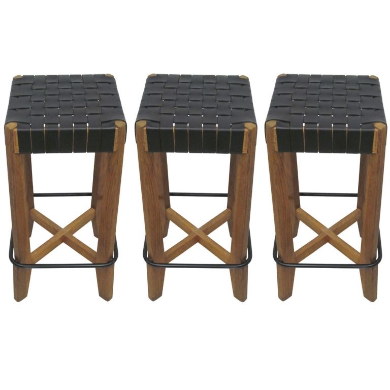 3 French 1940 Bar Stools with Leather Strap Seats Bar stool
