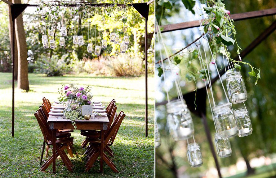 backyard wedding with mason jar chandelier #masonjars #masonjarcraftslove