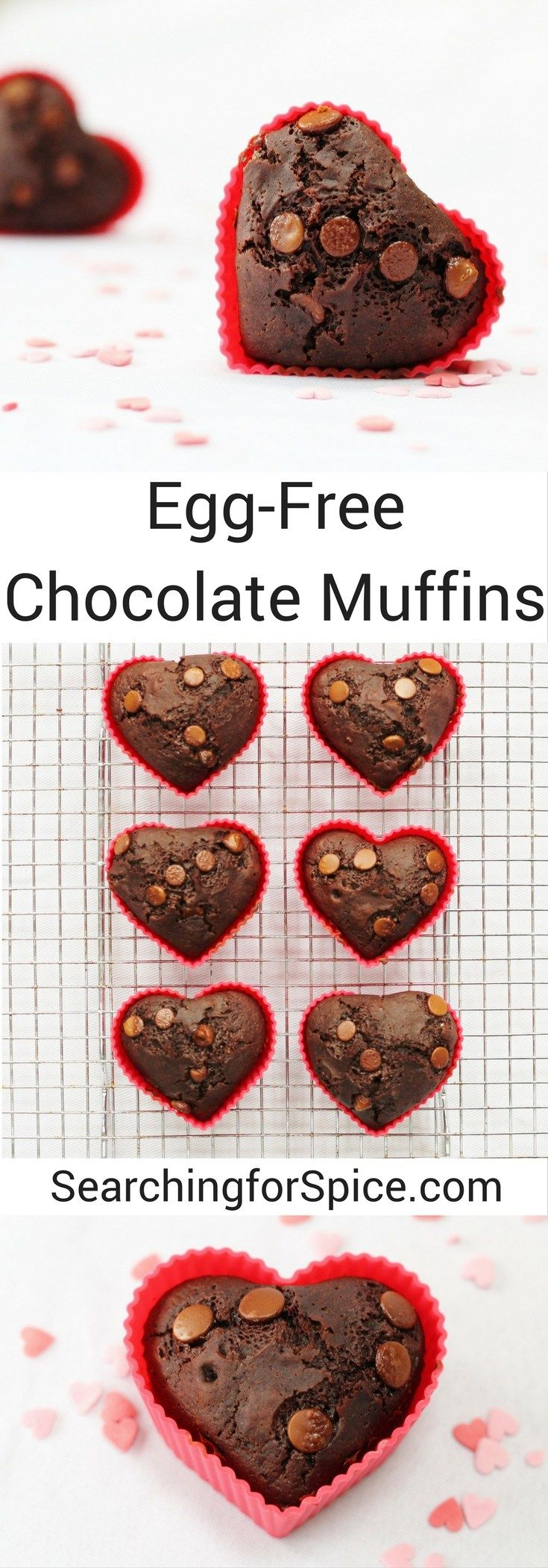 Egg-free chocolate muffins. Perfect snack for Valentine's day or any other day!
