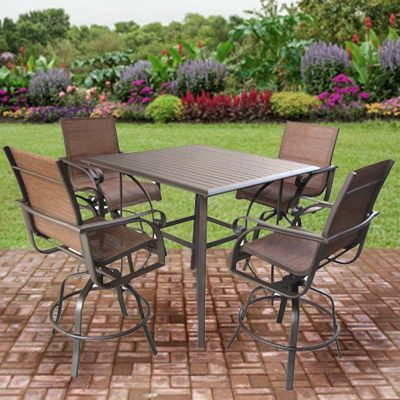 Patio Furniture Sunflower Aluminum Sling High Dining Patio Set