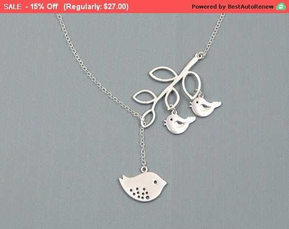 Birthday Gifts For Mom Jewelry Mothers Of Twins Bird Necklace Silver To Be Mommy