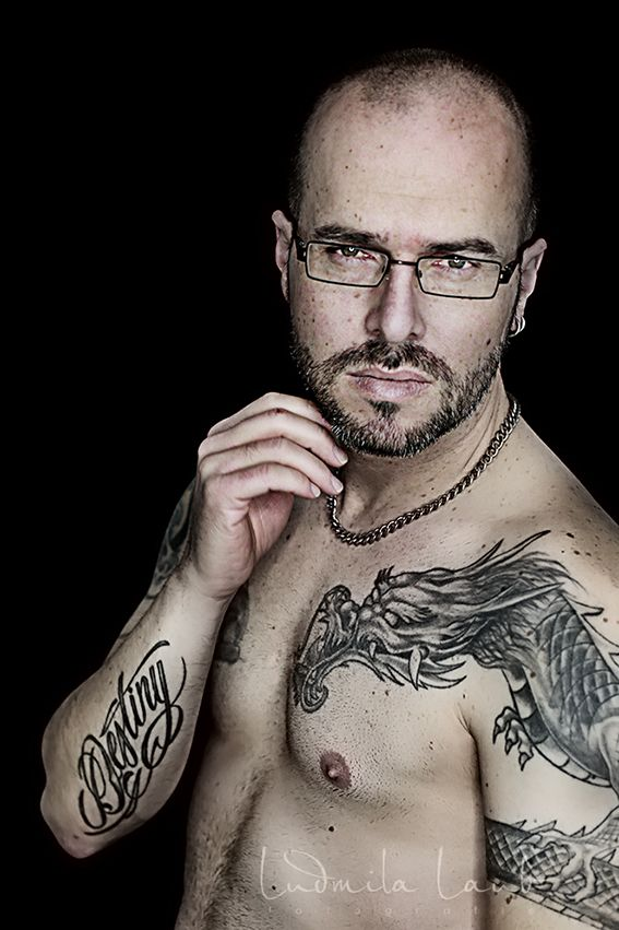 men boy body dragon tattoo black backround glasses strong muscle