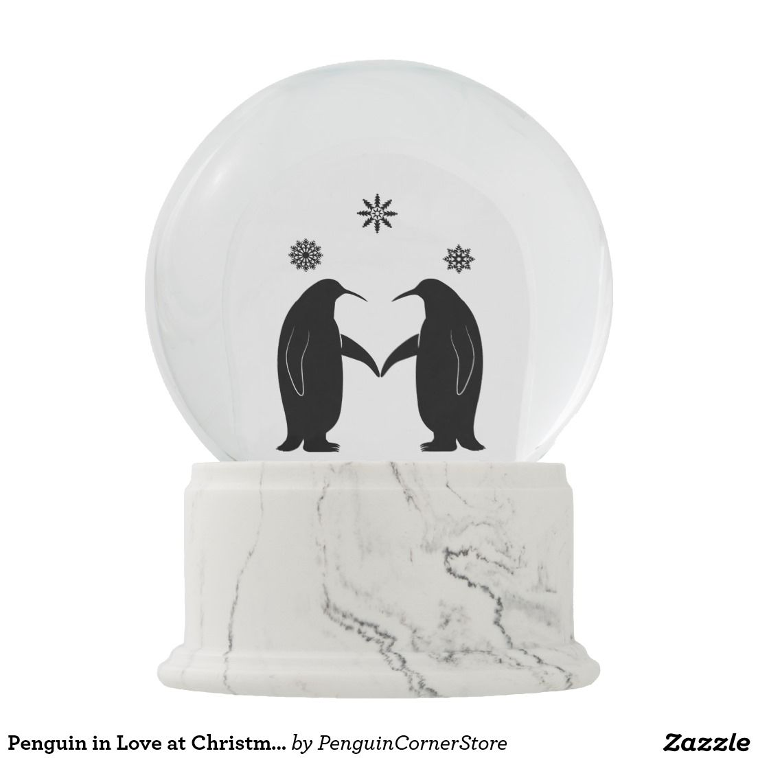 Penguin in Love at Christmas in the Snow Snow Globe