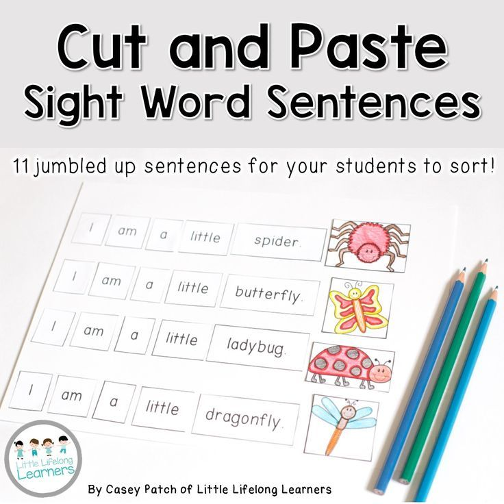 Sight Word Sentences Cut And Paste Activity Elementary Qld