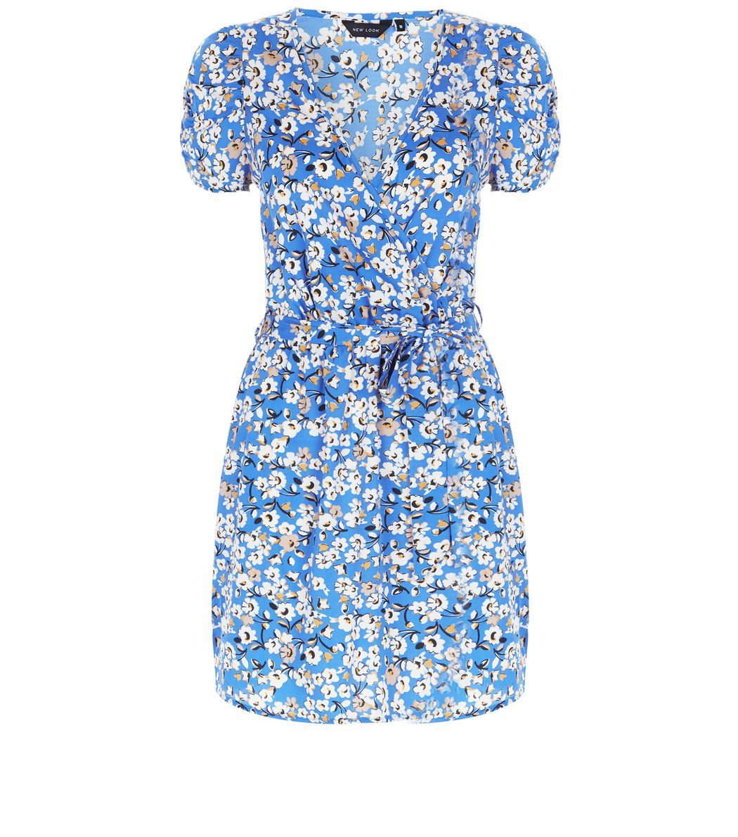 Blue Daisy Print Wrap Front Dress | Wrap front dress, Print wrap and ...