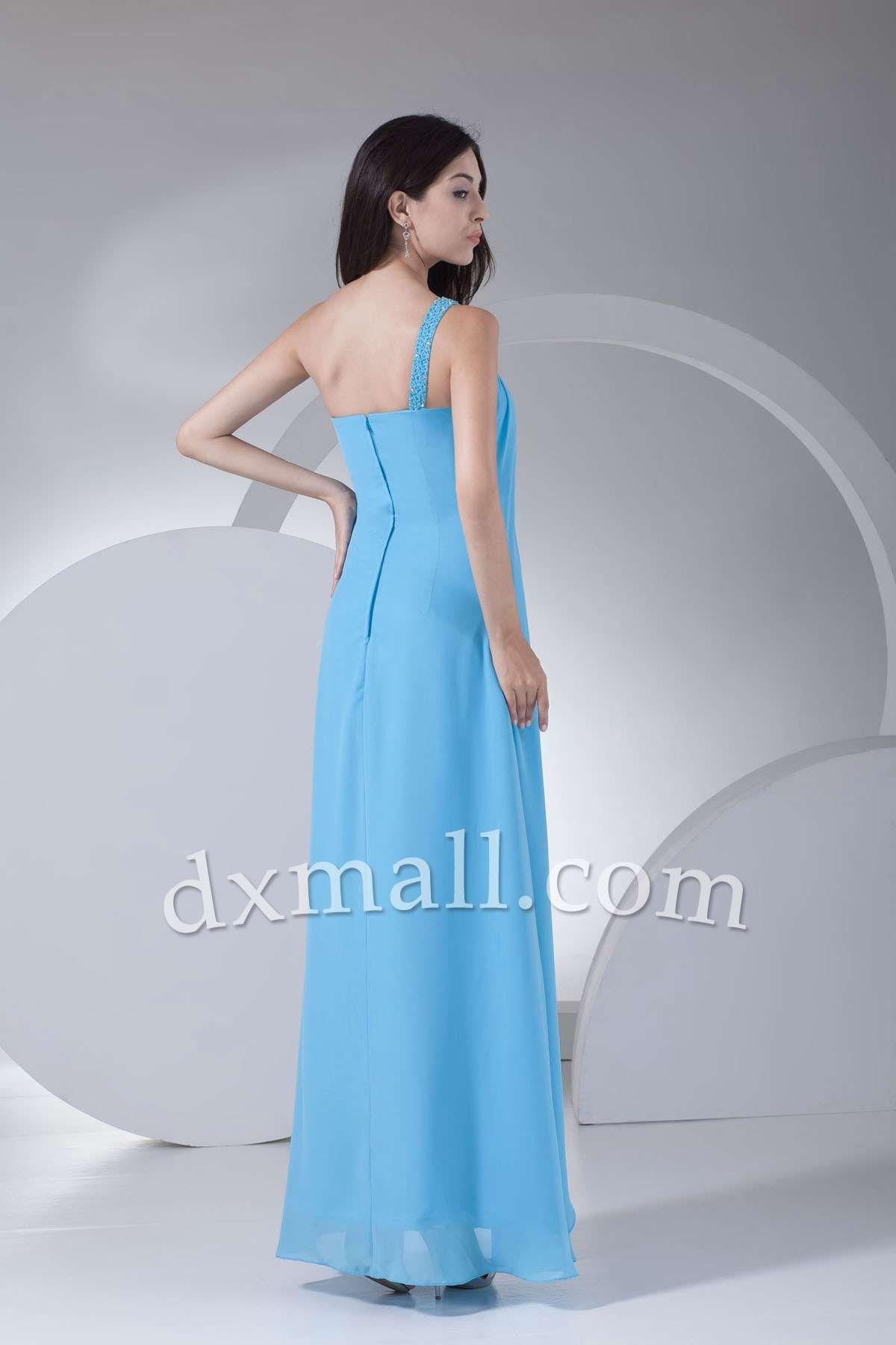 Sheath/Column Wedding Guest Dresses One Shoulder Floor Length ...