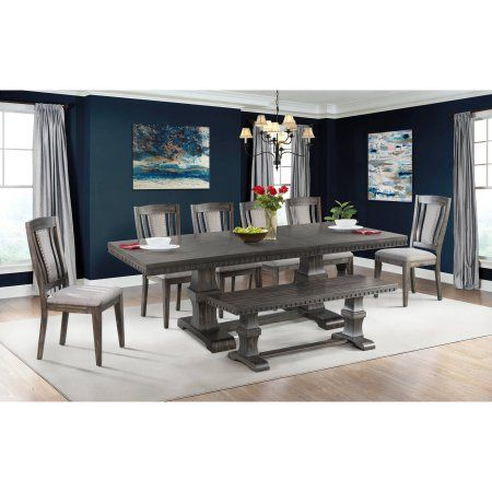 Picket House Furnishings Steele 8PC Dining Set- Table, 6 Wooden Side Chairs & Bench