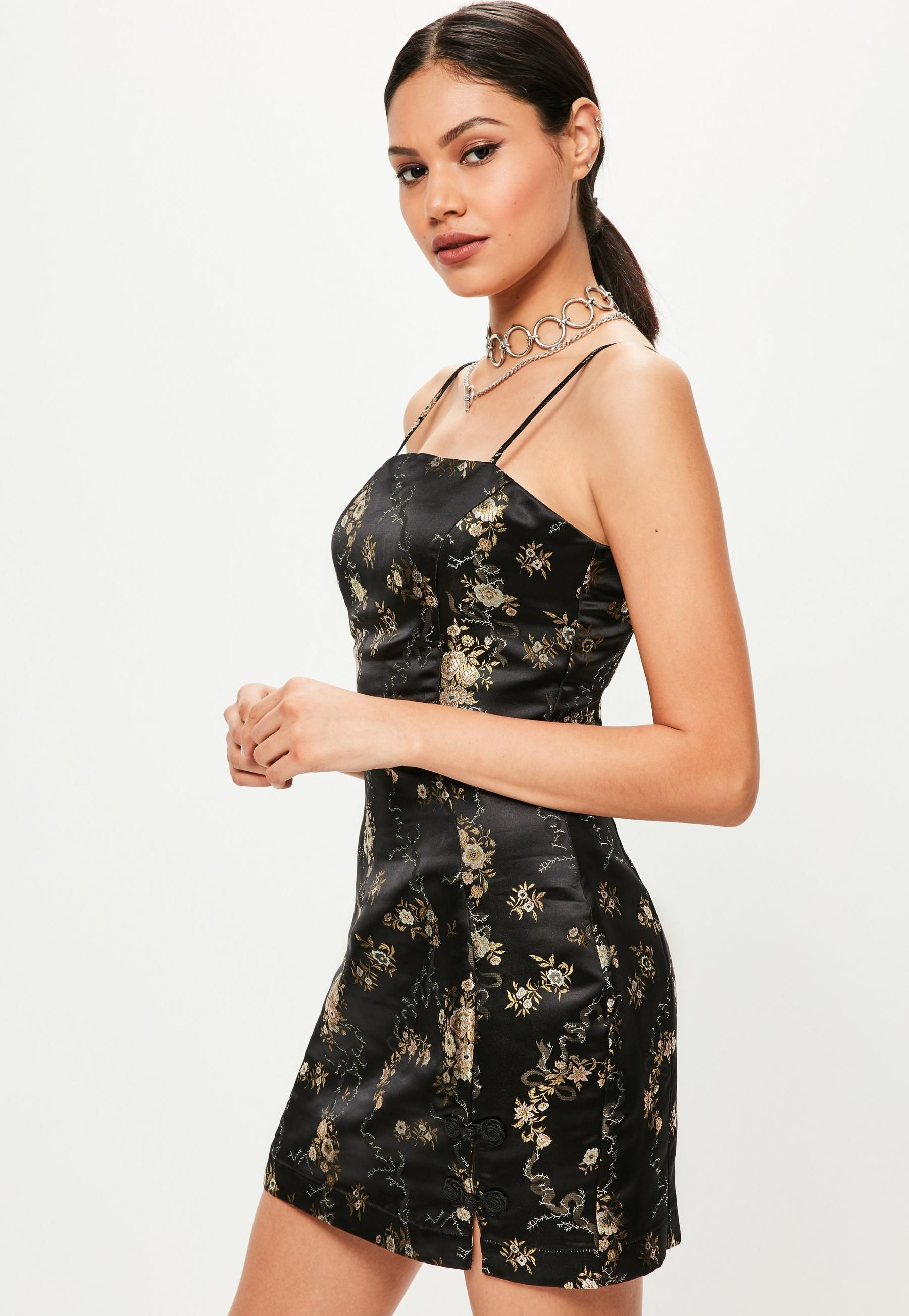 f9ebd0260f Black Silky Brocade Square Neck Bodycon Dress