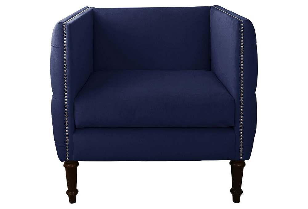 Aldridge Tufted Club Chair, Navy Velvet Blue living room
