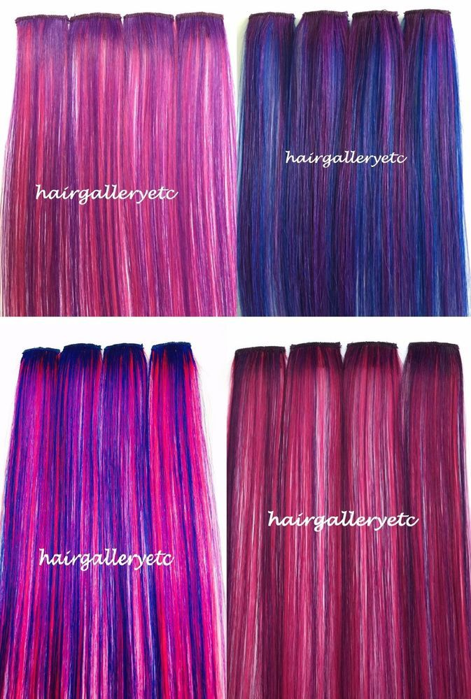 1214 18 Long Multi Color Clip In 100 Human Hair Extensions