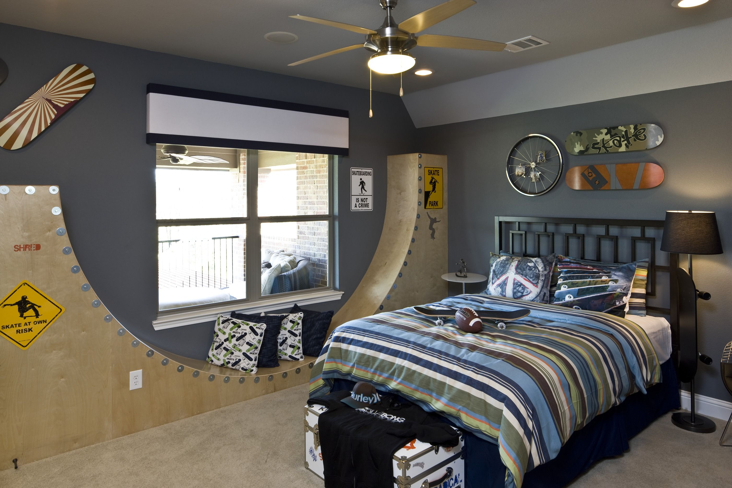 Head to the skate park in this skateboard themed room (Reserve at  Colleyville, TX) (Diy Bedroom Ados)