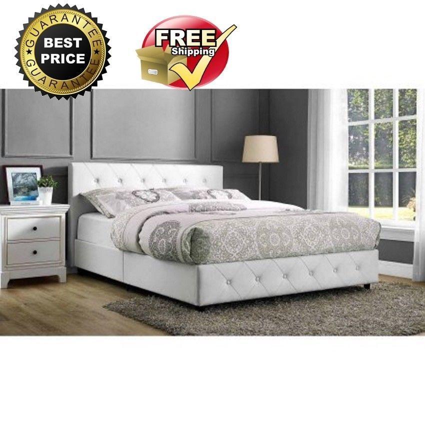 Bed Frame White Full Size Upholstered Modern Tufted Headboard Bedroom  Furniture