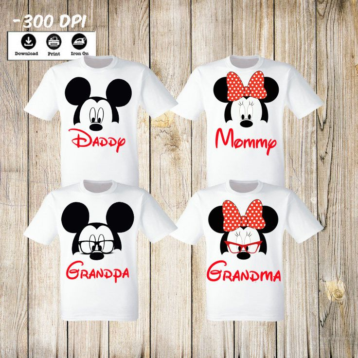 0c883cc6 Set Disney Family T-Shirts iron on. Mickey Minnie Mouse Grandpa Grandma  Daddy Mommy Family Set.Birthday Party T-shirts Personalized Matching