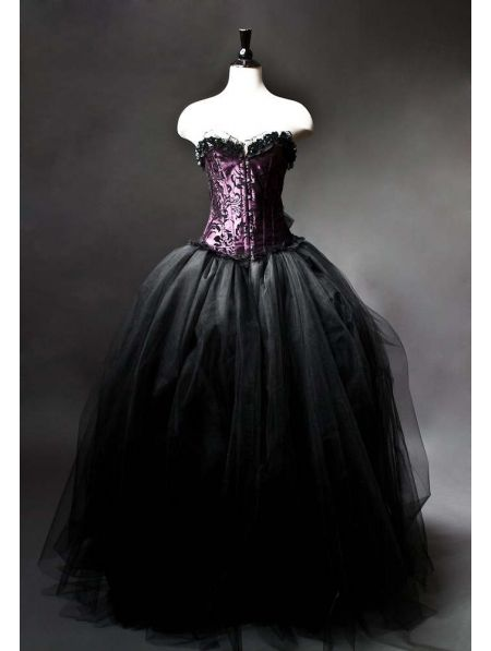 Purple and Black Gothic Burlesque Corset Prom Gown | Just Fashion ...