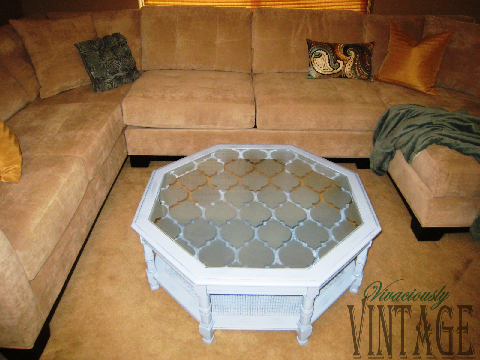 - Blue Etched Glass Coffee Table Glass Coffee Table, Coffee Table