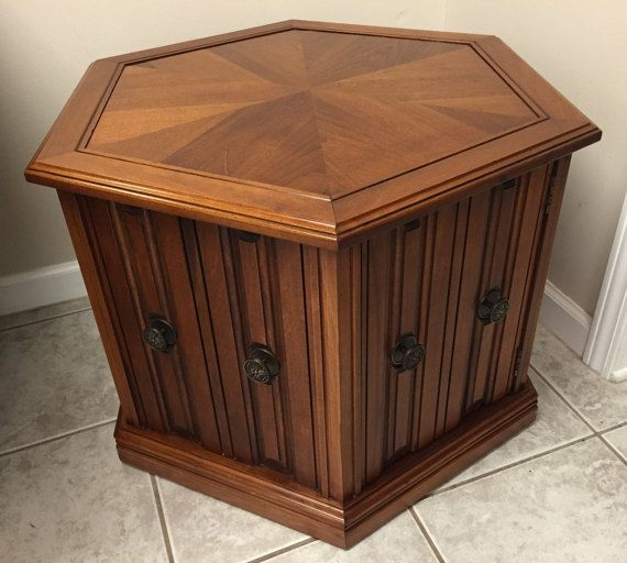 Mersman Hexagonal End Side Table Cabinet Mid Century