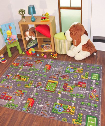 Details About Children's Rugs Town Road Map City Rug Play