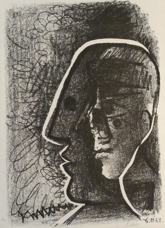 Pablo Picasso Litografia Cabeza De Picasso Y Cocteau 1962 37 X