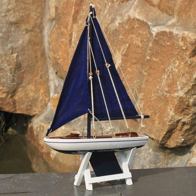 Photo of Handcrafted Nautical Decor Wooden It Floats Floating Model Sailboat Size: 12″ H x 2.5″ W x 8″ D, Colour/Finish: Blue/Blue