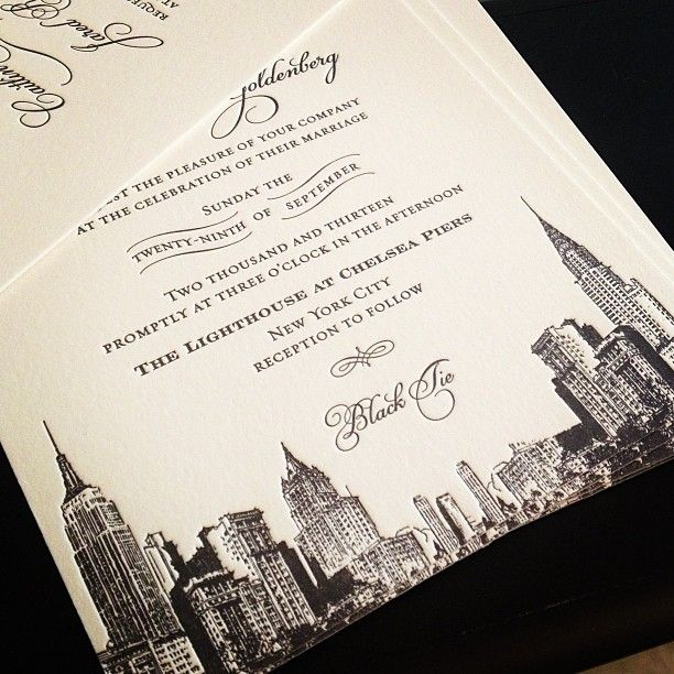 letterpress new york city skyline wedding invitation