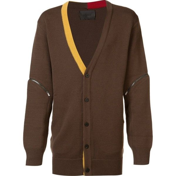 D.Gnak contrast trim cardigan ($560) ❤ liked on Polyvore featuring men's fashion, men's clothing, men's sweaters, brown, mens brown sweater, mens cardigan sweaters, mens wool cardigan sweaters, mens brown cardigan sweater and mens wool sweaters