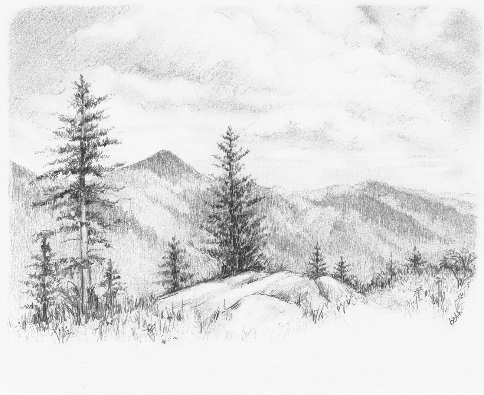 how to draw a forest scene easy