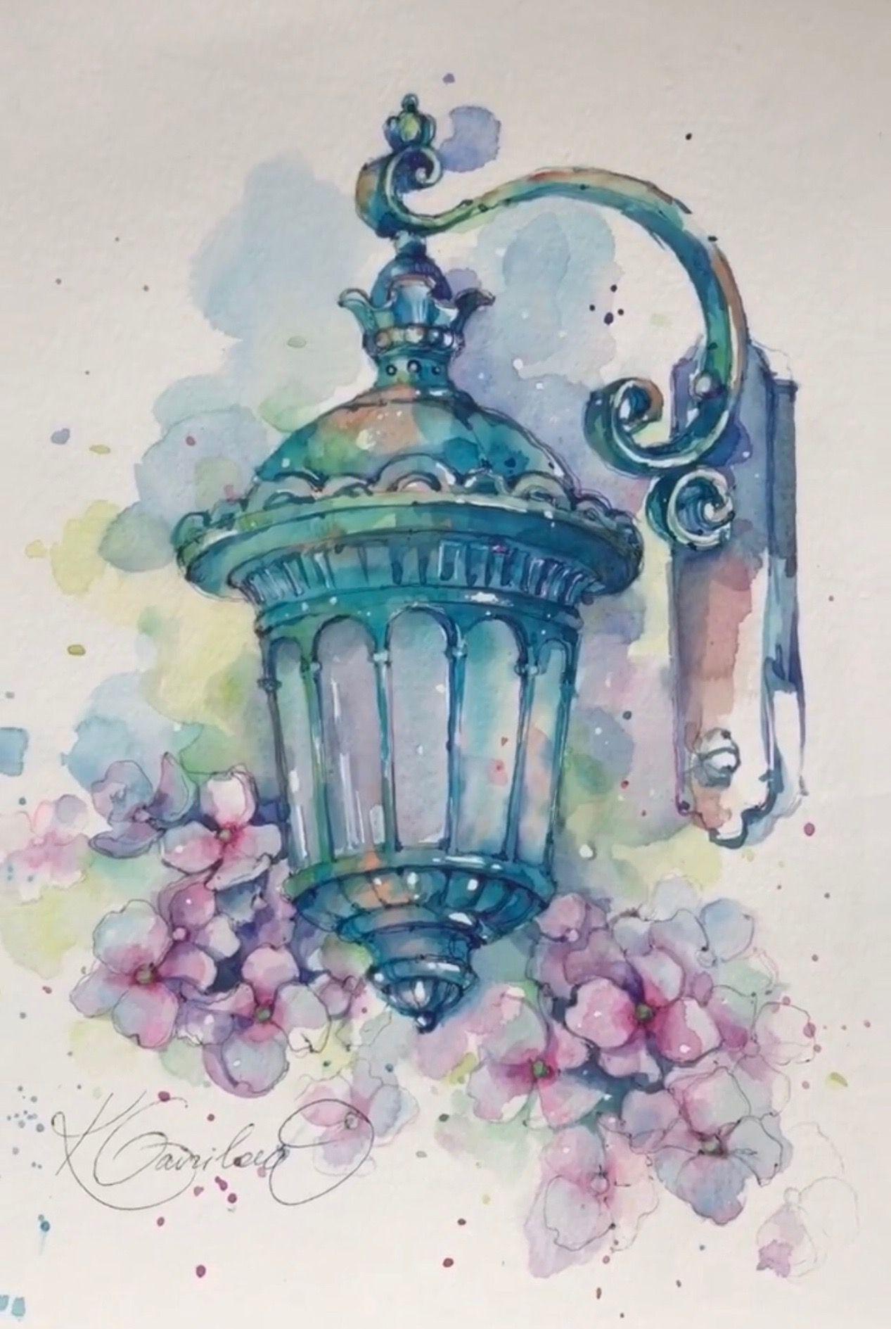 Epingle Par Martine Chauvet Sur Lampadaire Peinture Aquarelle