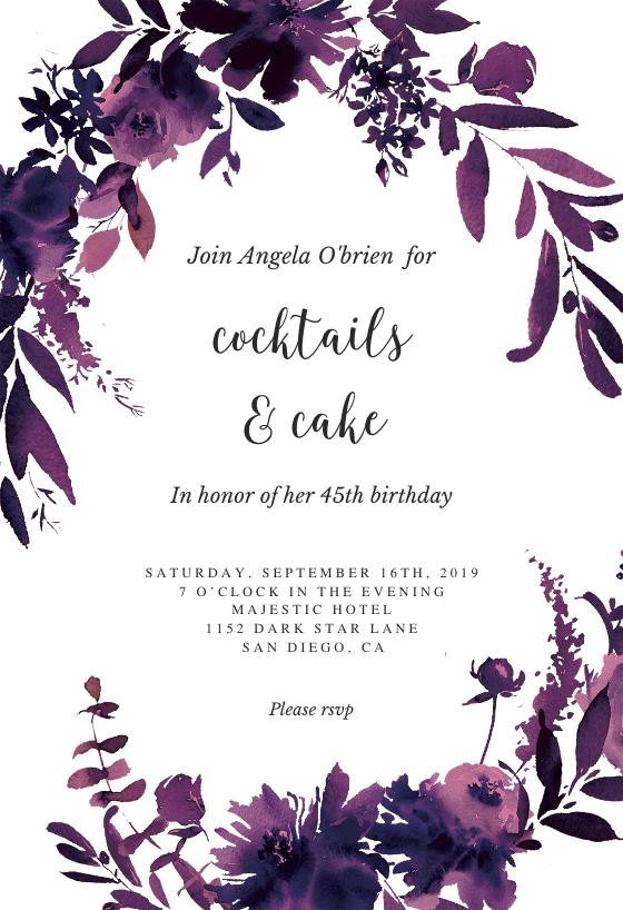 indigo flowers birthday invitation