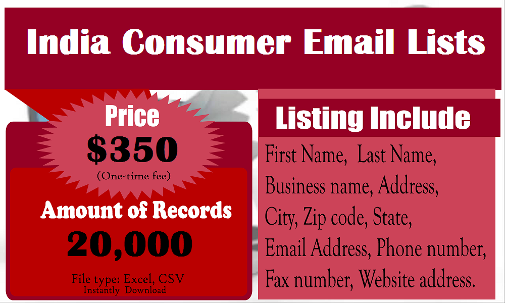 India Consumer Email Lists | Buy Business Email List
