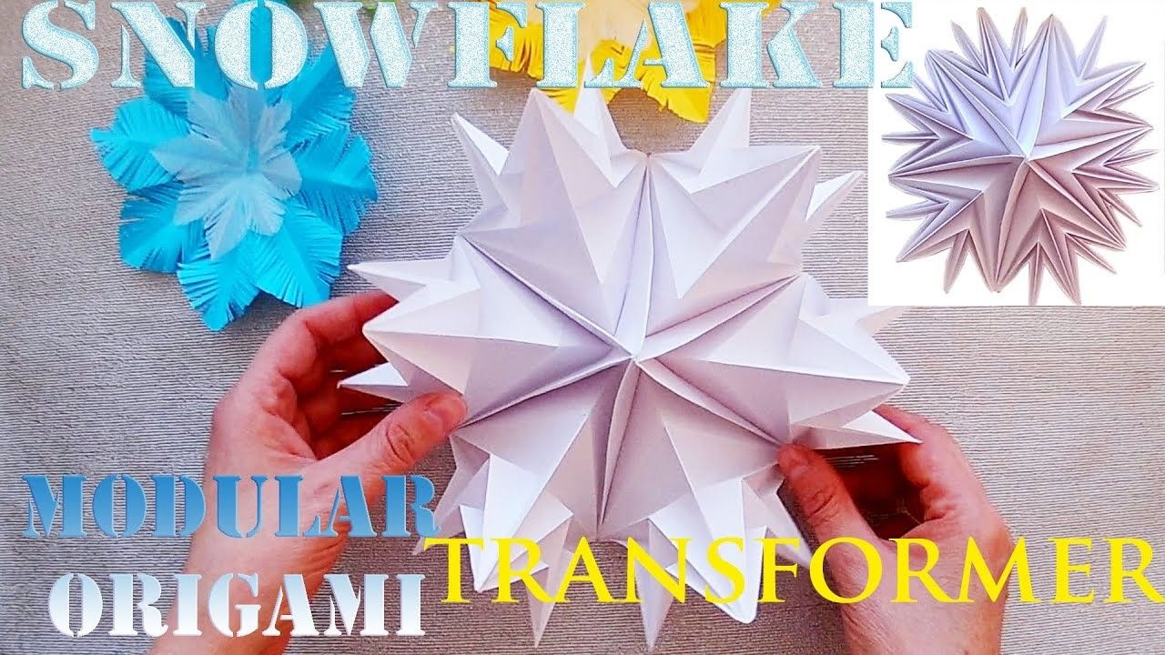 Turn in a large snowflake snowflake origami transformer 3d turn in a large snowflake snowflake origami transformer 3d christmas crafts jeuxipadfo Images