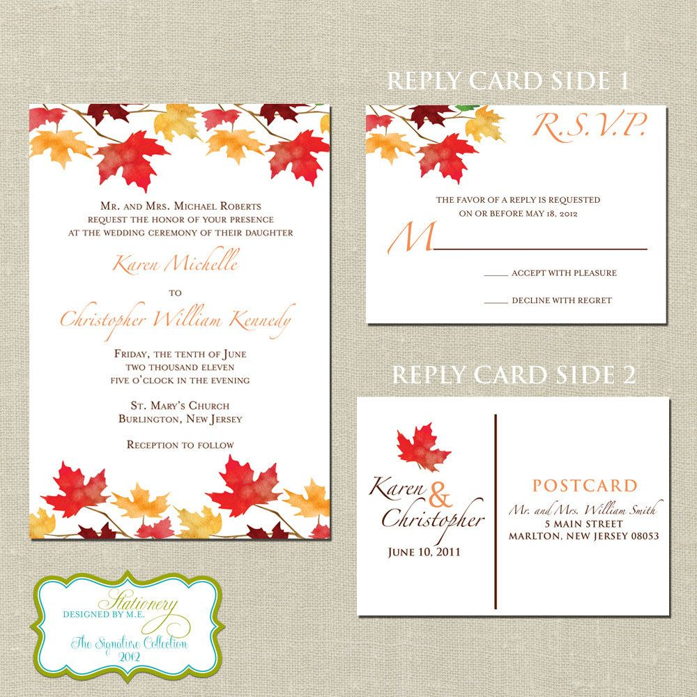Falling In Love Autumn Wedding Invitation Set & Reply Post Card ...