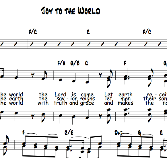 Sheet Music And Lyrics To Joy To The World: Blessed Hymns And Beautiful
