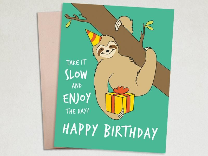 Birthday Greeting Card Sloth Birthday Sloth Birthday Birthday Greeting Cards Sloth Happy Birthday