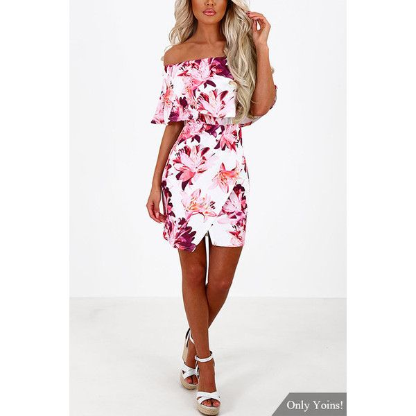Random Floral Print Off Shoulder Tiered Dress (22 AUD) ❤ liked on Polyvore featuring dresses, off shoulder floral dress, sexy white dresses, sexy off the shoulder dresses, white day dress and white off the shoulder dress