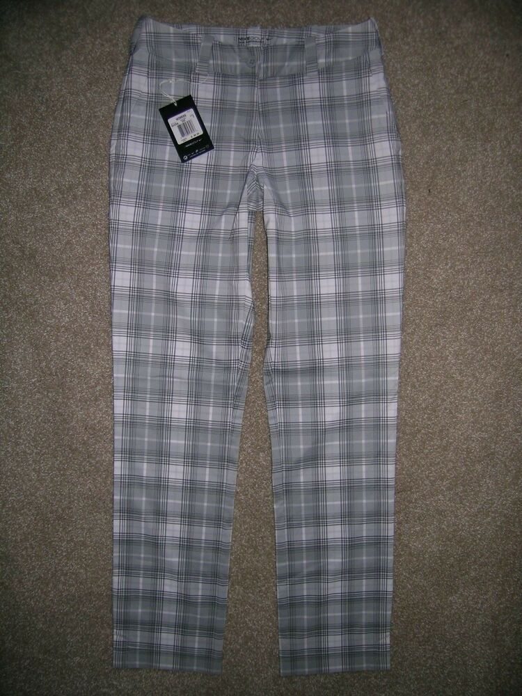 507597bda Nike Golf Dri Fit Pants Womens Plaid Stretch Gray White Tour Performance  size 2 #fashion
