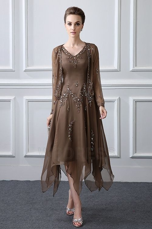 Sheath Column V Neck Tea Length Asymmetrical Mother Of The Bride Dress With Beading Sequined