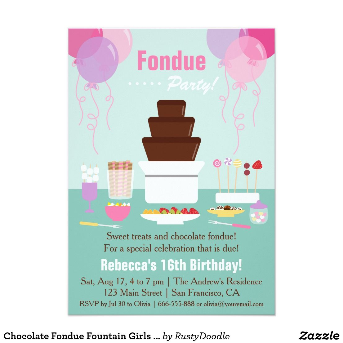 Chocolate Fondue Fountain Girls Birthday Party Card | Teen birthday ...